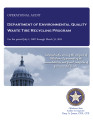 Audit Report of the Department of Environmental Quality Waste Tire Recycling Program For the...