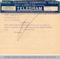 Telegram New York Herald to Governor James B. A. Robertson, 1921 June 1