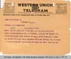Telegram F. E. Christian, Secretary Brotherhood of Races to Governor James B. A. Robertson, 1921...