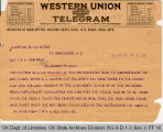 Telegram W. M. Ware, President Universal Negro Improvement Association to Governor James B. A....