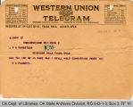 Telegram W. D. Fossett to Governor James B. A. Robertson, 1921 June 2