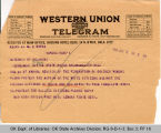 Telegram Mrs. Chas Childs, President Federation of Colored Womens Clubs to Governor James B. A....