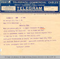 Telegram Universal Service to Governor James B. A. Robertson, 1921 June 1