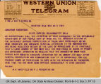Telegram M. H. Wakefield, MD to...