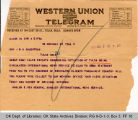Telegram Marlene Pew, General Manager International News Service to Governor James B. A....