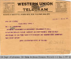 Telegram John A. Gustafson, Chief of Police, Tulsa to Governor James B. A. Robertson, 1921 June 1