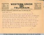 Telegram Re Tulsa Investigation to Attorney General, 1921 May 18