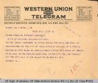 Telegram to S. P. Freeling, Attorney General, 1921 May 18