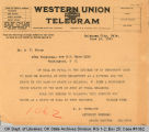 Telegram S. P. Freeling, Attorney General to Dr. A. T. Story, 1921 June 30