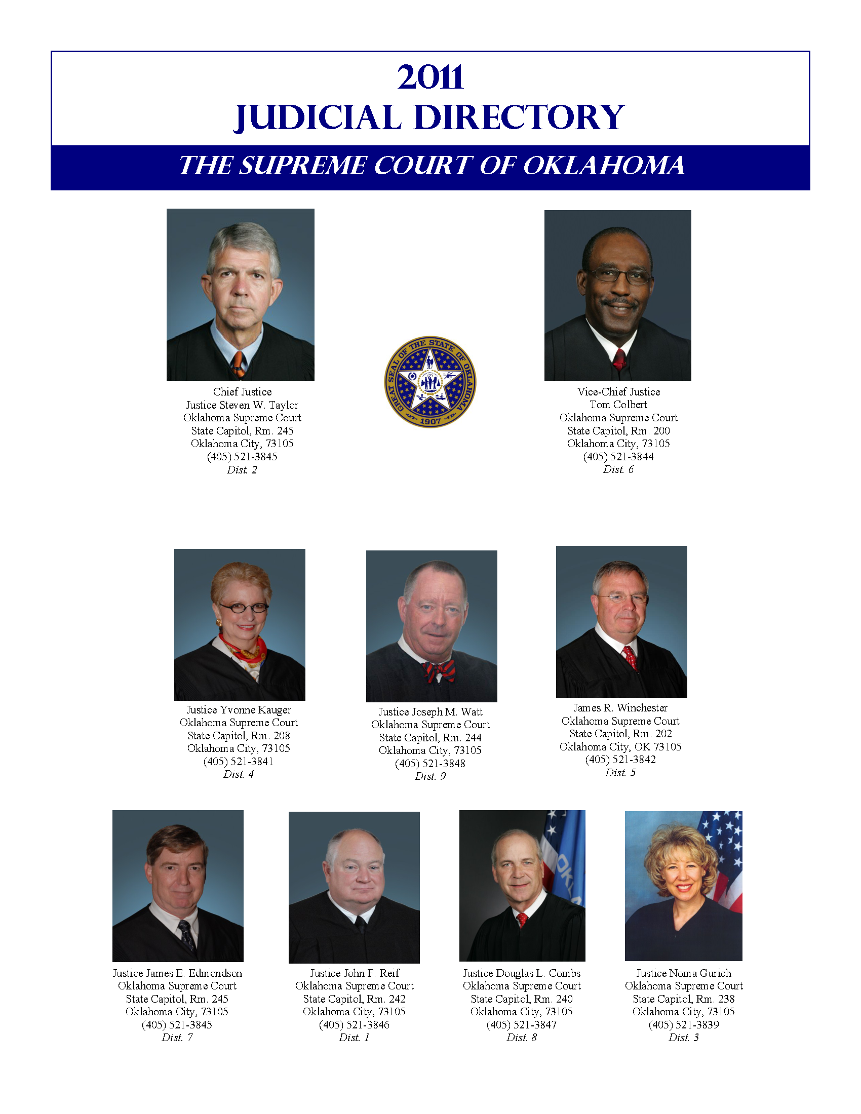 Judicial Directory 2011 - Documents OK Gov - Oklahoma