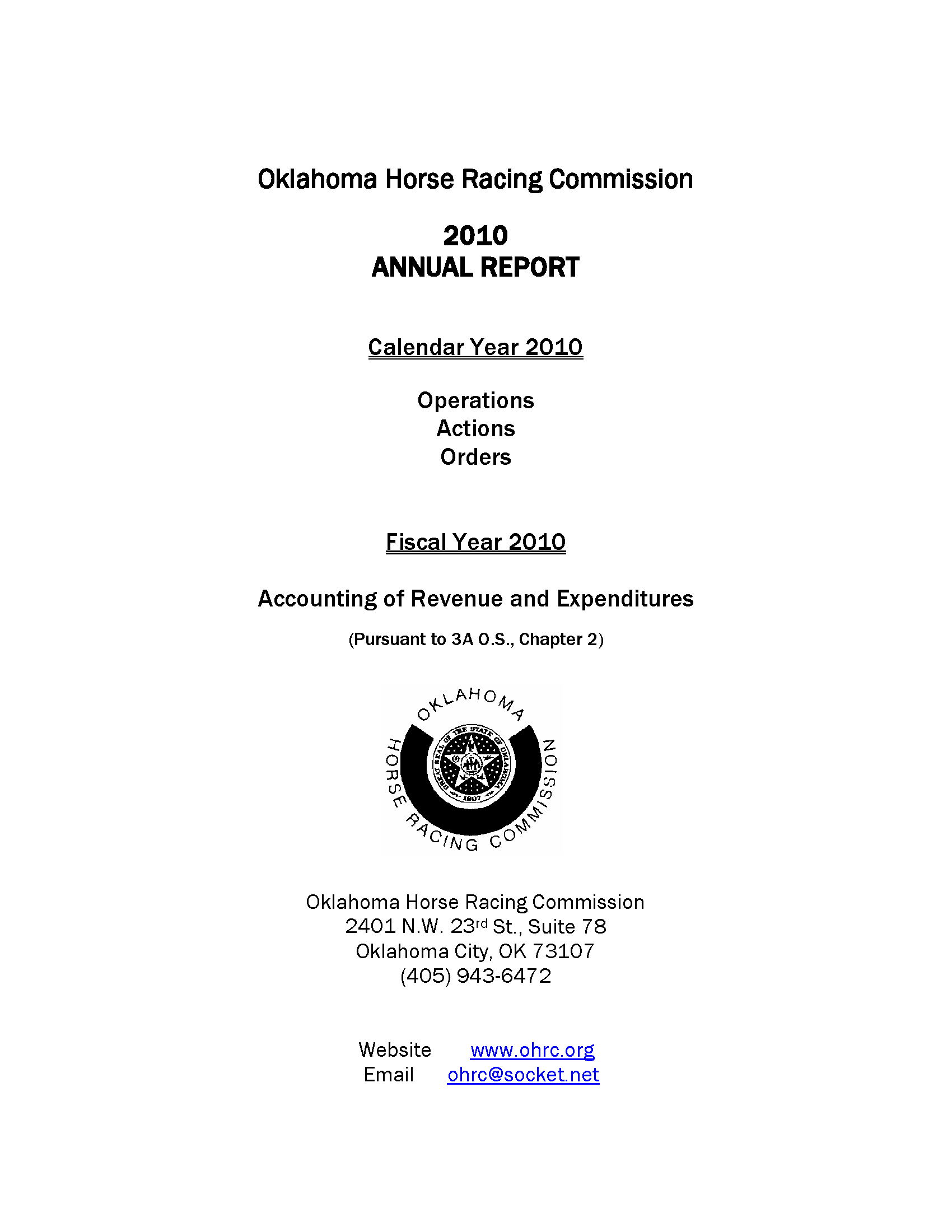 Horse Racing Commission annual report 2010 - Documents OK