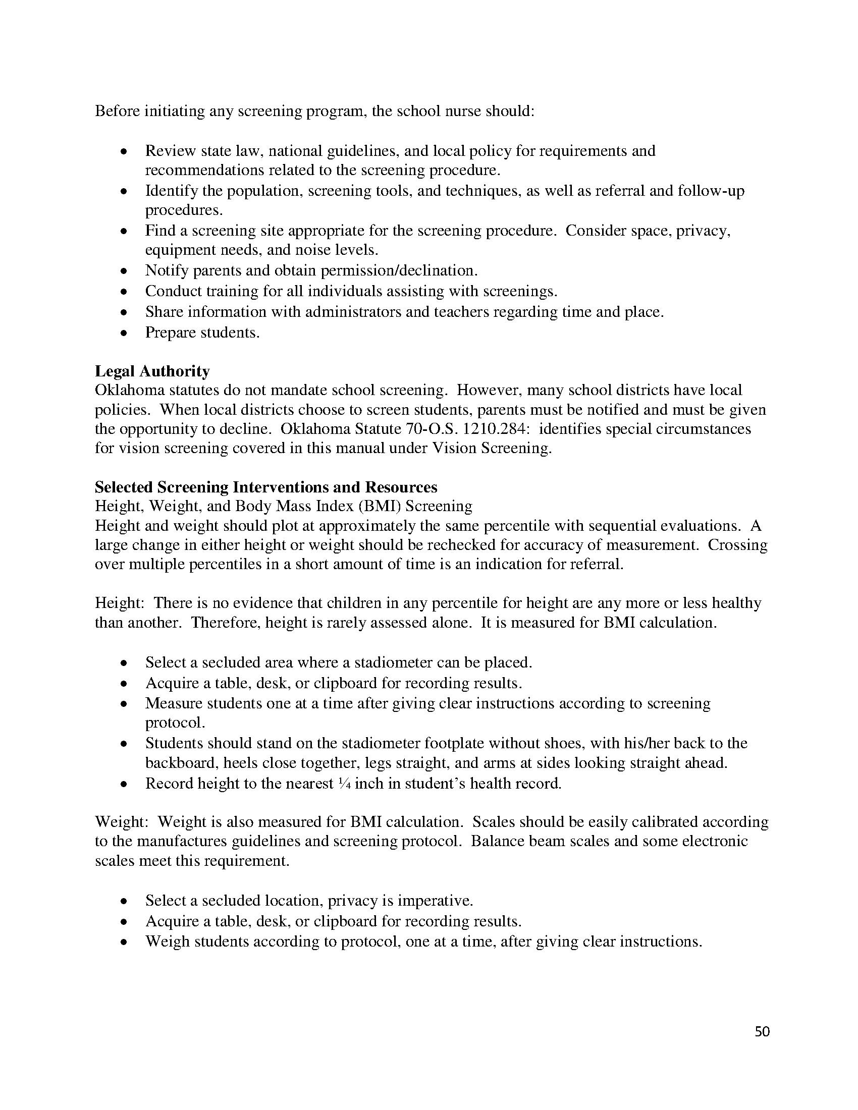 Oklahoma School Nurse Guidelines and Example IHSP 52 - Documents OK