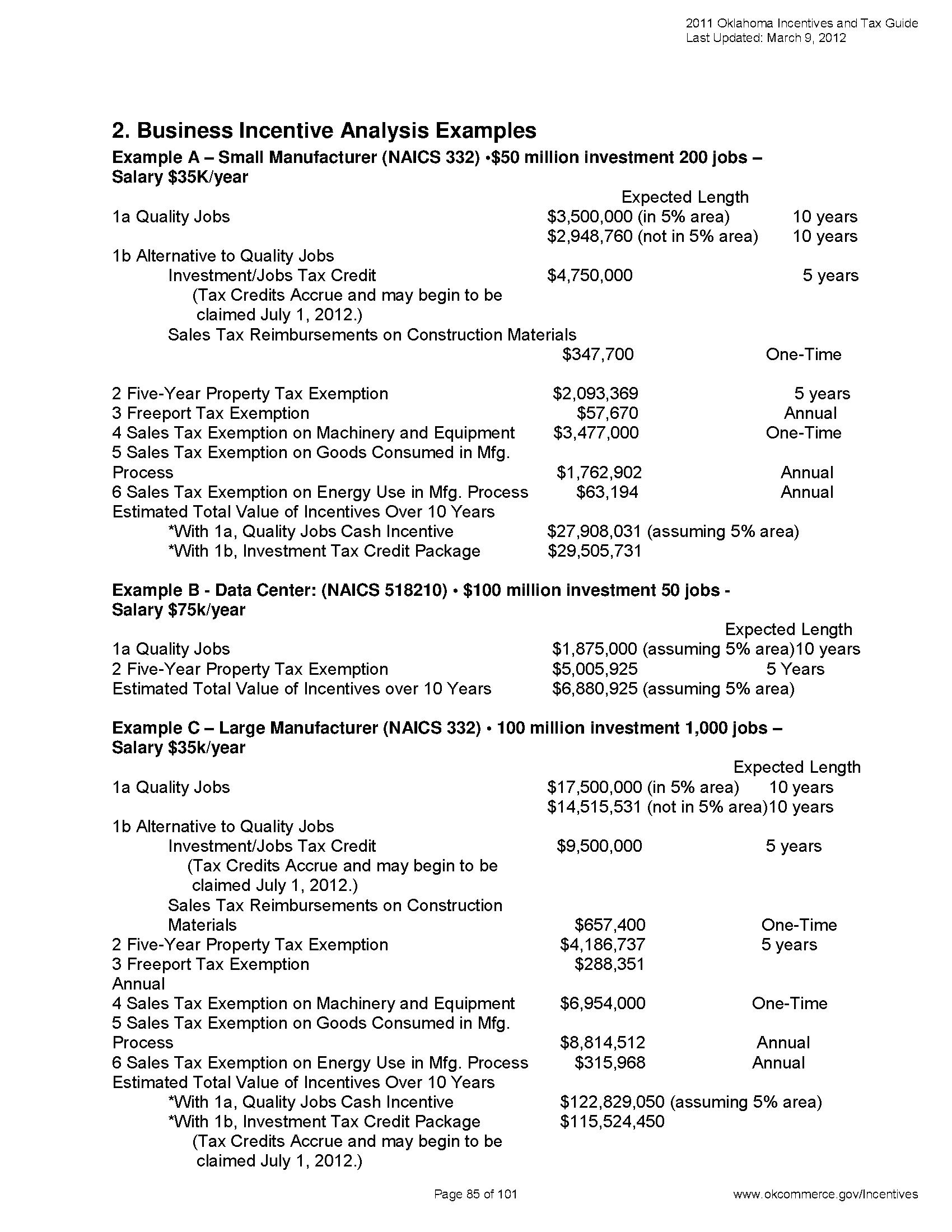 2012-03 Incentives Tax Guide 85 - Documents OK Gov - Oklahoma