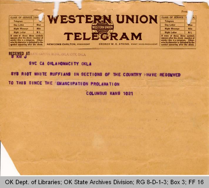 Telegram Columbus, Kansas to Governor James B. A. Robertson; Page 1